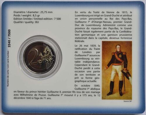 Zertifikat:Luxemburg : 2 Euro 175. Todestag von Großherzog Guillaume I. - Münzzeichen Brücke  2018 Stgl.