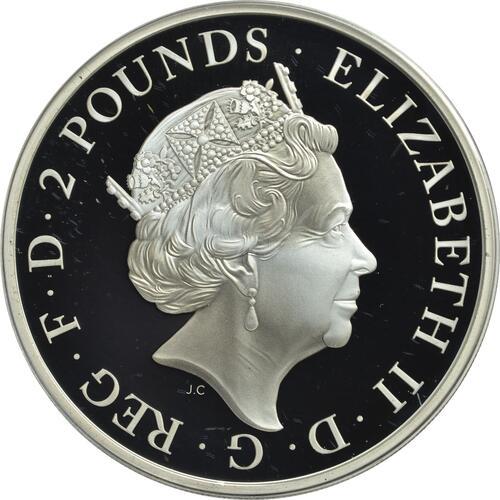 Rückseite:Großbritannien : 2 Pfund The Queen's Beast - Falcon of the Plantagenets  2019 PP