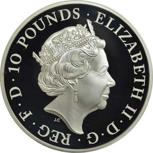 Rückseite:Großbritannien : 10 Pfund The Queen's Beast - Falcon of the Plantagenets 5 Oz  2019 PP