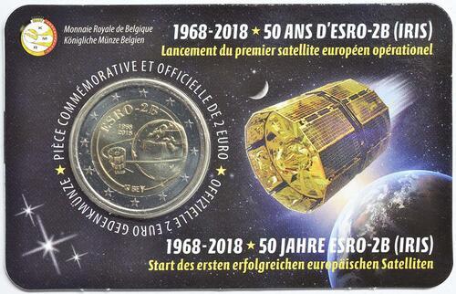 Lieferumfang:Belgien : 2 Euro ESRO-2B Satellit  2018 Stgl.