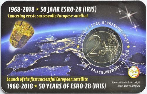 Zertifikat:Belgien : 2 Euro ESRO-2B Satellit  2018 Stgl.