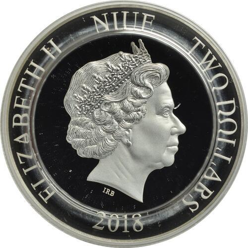 Rückseite:Niue : 2 Dollar Drückerfisch - Fische des Riffs  2018 PP