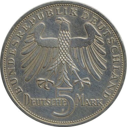 Rückseite:Deutschland : 5 DM Schiller  1955 ss/vz.