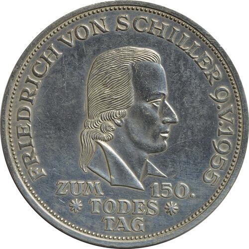 Vorderseite:Deutschland : 5 DM Schiller  1955 ss/vz.