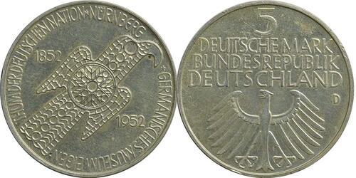 Lieferumfang:Deutschland : 5 DM Germanisches Museum  1952 ss/vz.
