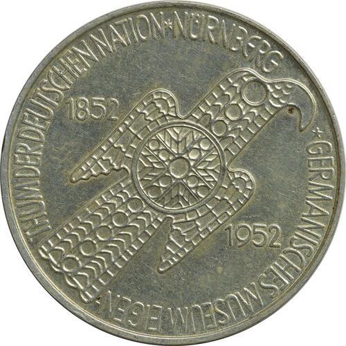 Vorderseite:Deutschland : 5 DM Germanisches Museum  1952 ss/vz.