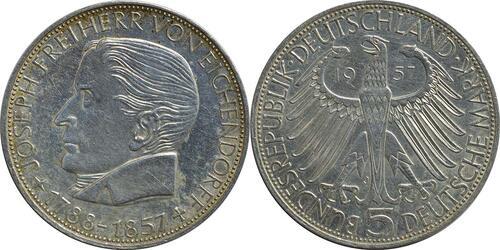 Lieferumfang:Deutschland : 5 DM Eichendorff  1957 ss/vz.