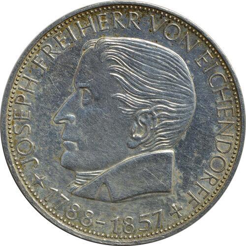 Vorderseite:Deutschland : 5 DM Eichendorff  1957 ss/vz.