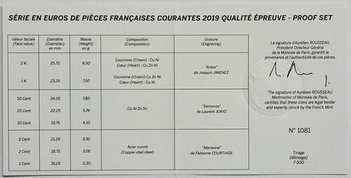 Zertifikat:Frankreich : 3,88 Euro KMS Frankreich  2019 PP