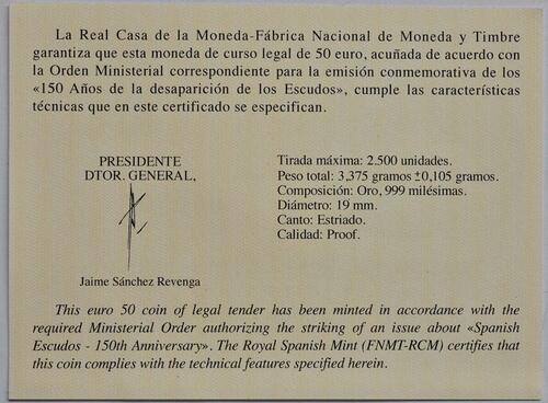 Zertifikat:Spanien : 50 Euro Ferdinand VI.  2018 PP