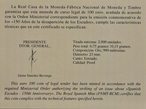 Zertifikat:Spanien : 100 Euro Philip III.  2018 PP