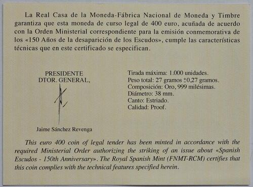 Zertifikat:Spanien : 400 Euro Philip V.  2018 PP