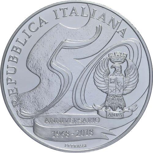 Rückseite:Italien : 5 Euro 50 Jahre Staatspolizei  2018 Stgl.
