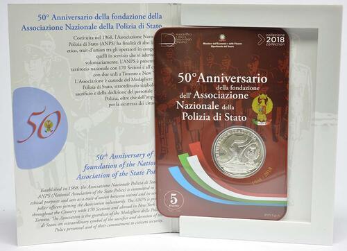 Lieferumfang:Italien : 5 Euro 50 Jahre Staatspolizei  2018 Stgl.