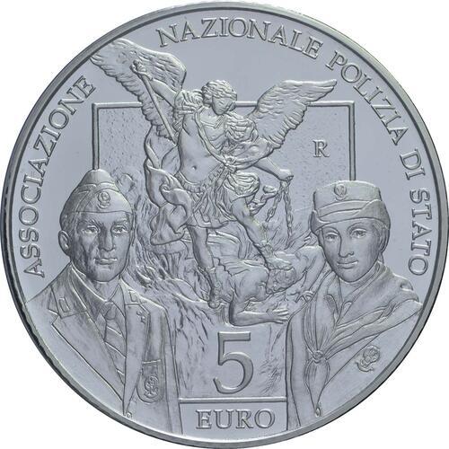 Vorderseite:Italien : 5 Euro 50 Jahre Staatspolizei  2018 Stgl.