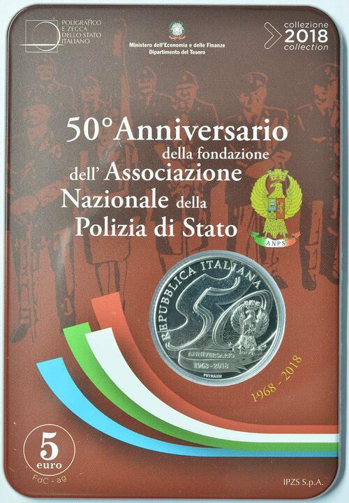 Zertifikat:Italien : 5 Euro 50 Jahre Staatspolizei  2018 Stgl.