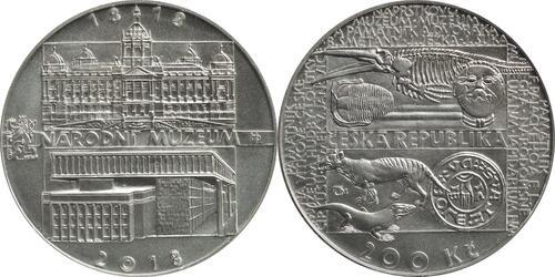 Lieferumfang:Tschechische Republik : 200 Kronen 200 Jahre Nationalmuseum  2018 Stgl.