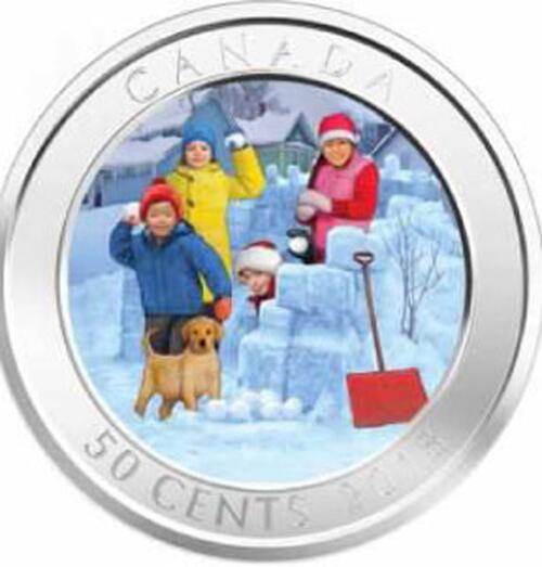 Lieferumfang:Kanada : 50 Cent Schneeballschlacht - Lenticular Coin  2018 Stgl.