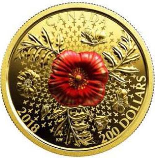 Lieferumfang:Kanada : 200 Dollar Mohnblume - 100 Jahre Waffenstillstand 1 oz  2018 PP