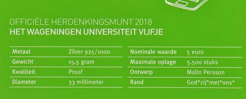 Zertifikat:Niederlande : 5 Euro Uni Wageningen  2018 PP