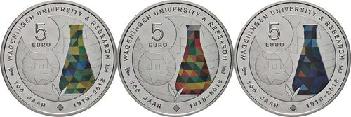 Rückseite:Niederlande : 15 Euro 3x 5 Euro Uni Wageningen - coloriert  2018 PP