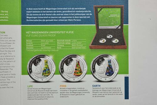 Zertifikat:Niederlande : 15 Euro 3x 5 Euro Uni Wageningen - coloriert  2018 PP