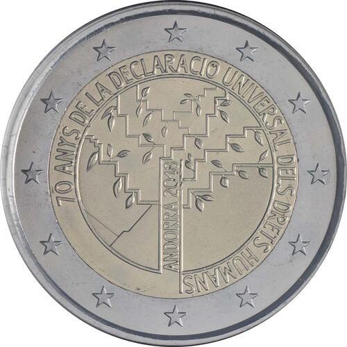 Rückseite:Andorra : 2 Euro 70. Jahrestag der Annahme der allgemeinen Erklärung der Menschenrechte  2018 Stgl.
