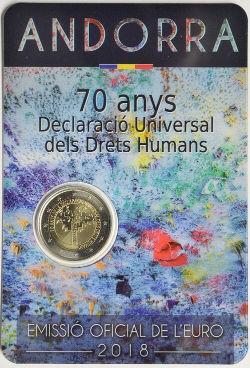 Lieferumfang:Andorra : 2 Euro 70. Jahrestag der Annahme der allgemeinen Erklärung der Menschenrechte  2018 Stgl.