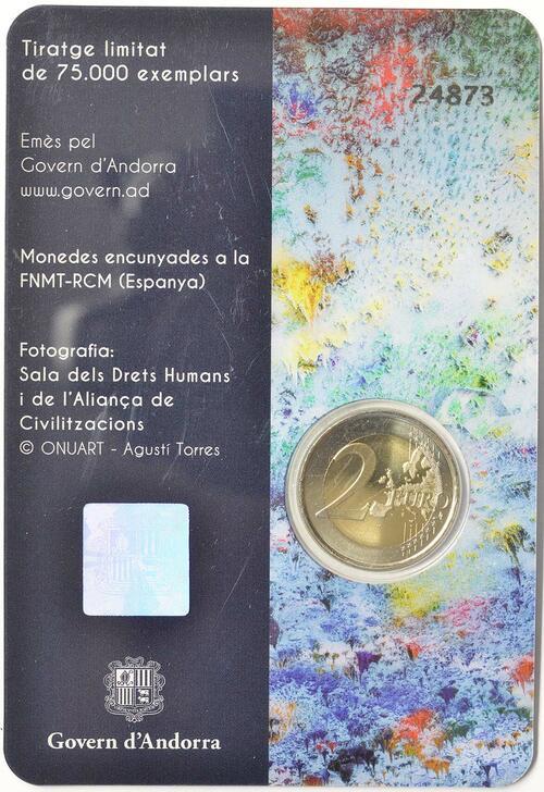 Zertifikat:Andorra : 2 Euro 70. Jahrestag der Annahme der allgemeinen Erklärung der Menschenrechte  2018 Stgl.