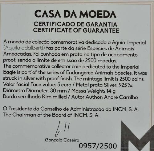Zertifikat:Portugal : 5 Euro Spanischer Kaiseradler  2018 PP