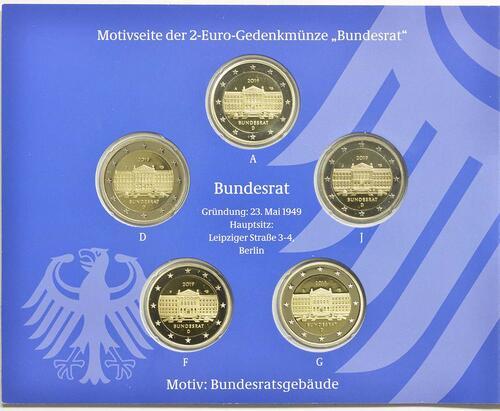 Rückseite:Deutschland : 2 Euro Bundesrat Komplettsatz 5x2 Euro  2019 PP