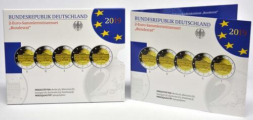 Lieferumfang:Deutschland : 2 Euro Bundesrat Komplettsatz 5x2 Euro  2019 PP