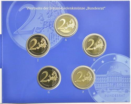 Vorderseite:Deutschland : 2 Euro Bundesrat Komplettsatz 5x2 Euro  2019 PP