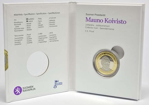 Lieferumfang:Finnland : 5 Euro Koivisto  2018 PP