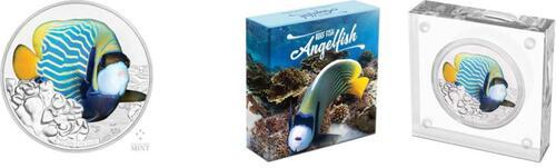Lieferumfang:Niue : 2 Dollar Samtkaiserfisch - Fische des Riffs  2018 PP