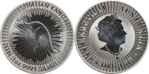 Lieferumfang:Australien : 1 Dollar Känguru 1 oz - Perth Mint Variante Si  2019 Stgl.