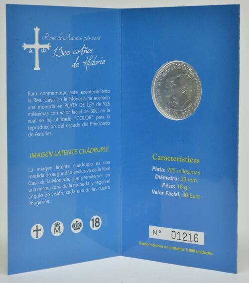 Lieferumfang:Spanien : 30 Euro 1300 Jahre Königreich Asturien - coloriert  2018 Stgl.