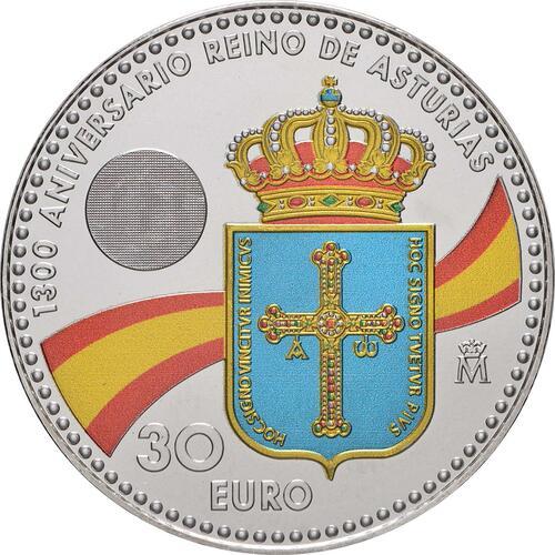 Rückseite:Spanien : 30 Euro 1300 Jahre Königreich Asturien - coloriert  2018 bfr