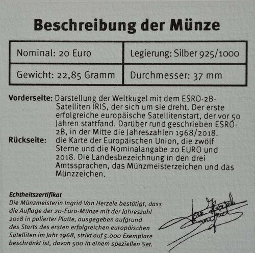 Zertifikat:Belgien : 20 Euro ESRO-2B Satellit  2018 PP