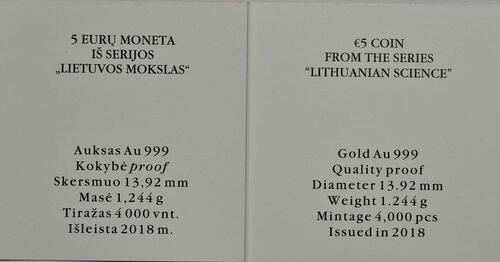 Zertifikat:Litauen : 5 Euro Wissenschaft in Litauen - Physik  2018 PP