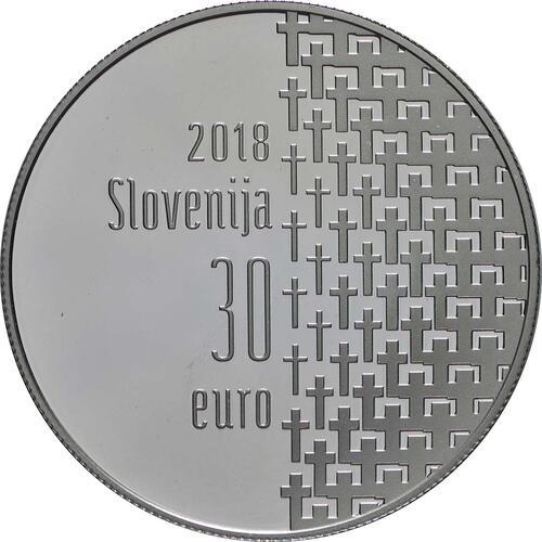 Rückseite:Slowenien : 30 Euro 100 Jahre Ende des 1. Weltkrieges  2018 PP