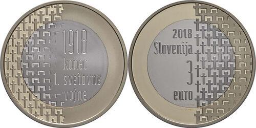 Lieferumfang:Slowenien : 3 Euro 100 Jahre Ende des 1. Weltkrieges  2018 PP