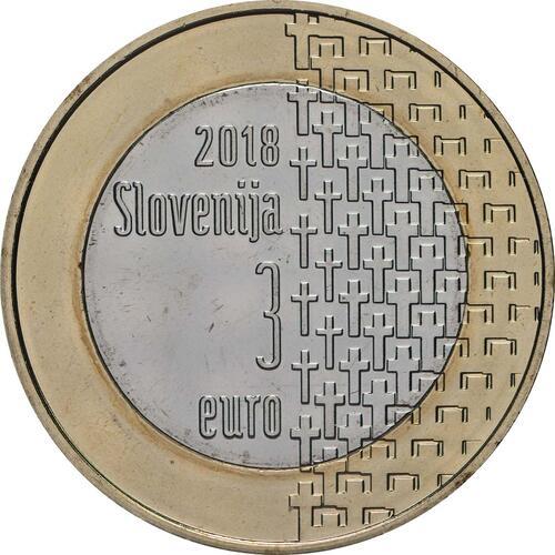 Rückseite:Slowenien : 3 Euro 100 Jahre Ende des 1. Weltkrieges  2018 bfr