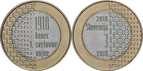 Lieferumfang:Slowenien : 3 Euro 100 Jahre Ende des 1. Weltkrieges  2018 bfr