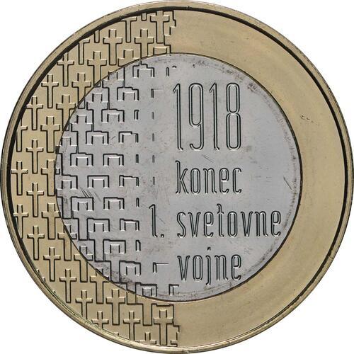 Vorderseite:Slowenien : 3 Euro 100 Jahre Ende des 1. Weltkrieges  2018 bfr