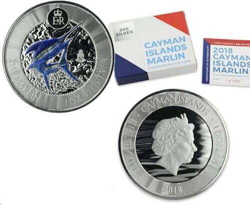 Lieferumfang:Cayman Inseln : 1 Dollar Marlin - farbig  2018 Stgl.