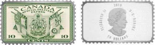Lieferumfang:Kanada : 20 Dollar Wappen und Flaggen/Expressmarke-Hist. Briefmarken  2018 PP