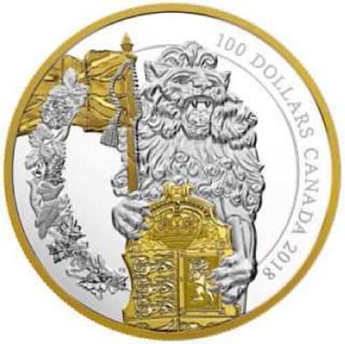 Lieferumfang:Kanada : 100 Dollar Die Wächter des Parlaments - Der Löwe  2018 PP