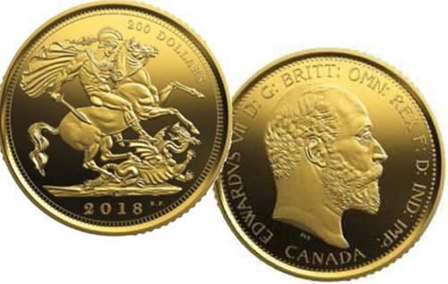 Lieferumfang:Kanada : 200 Dollar Sovereign von 1908 - 110 J. Royal Can. Mint 999,99  2018 PP
