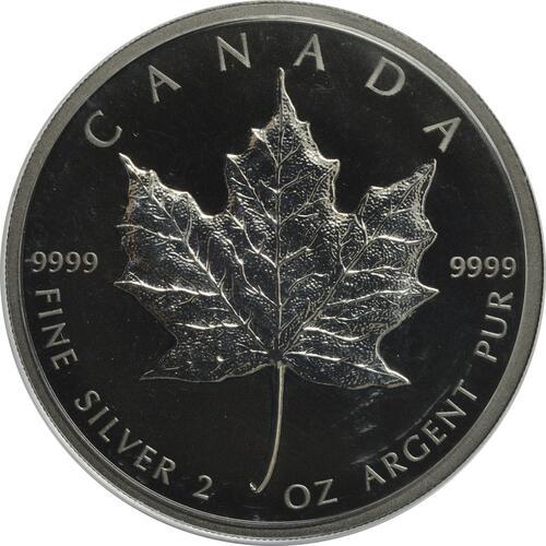 Vorderseite:Kanada : 10 Dollar 30 Jahre Maple Leaf - mit schwarzem Rhodium 2 oz  2019 Stgl.